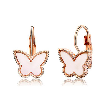 2018 New Cute Butterfly Hoop Huggie Earrings White Oil Drip Rose Gold Color Fashion Animal Jewelry for Party Christmas Gift earrings