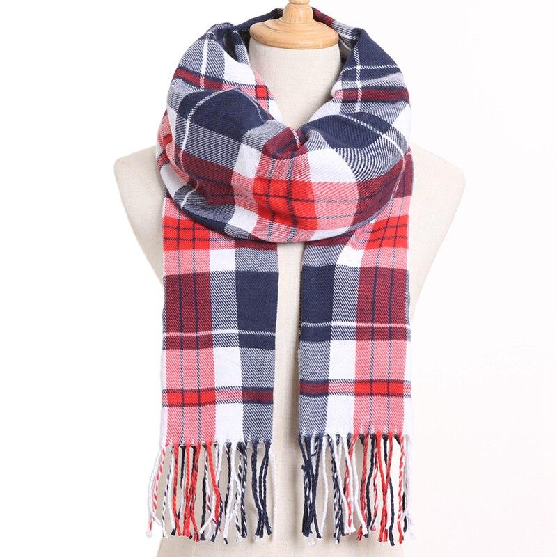 [VIANOSI] клетчатый зимний шарф женский тёплый платок одноцветные шарфы модные шарфы на каждый день кашемировые шарфы - Цвет: 18