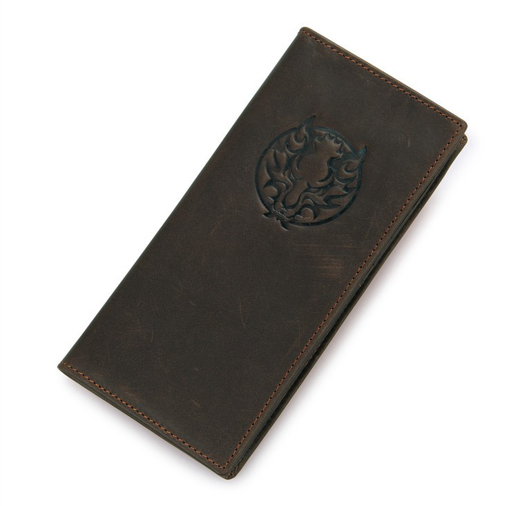 100% Genuine Leather Dragon Pattern Mens Chocolate Wallet Credit Card Holder 8013-1Q
