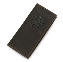 Free Ship 100% Genuine Leather Dragon Pattern Mens Chocolate Wallet Credit Card Holder # 8013-1Q