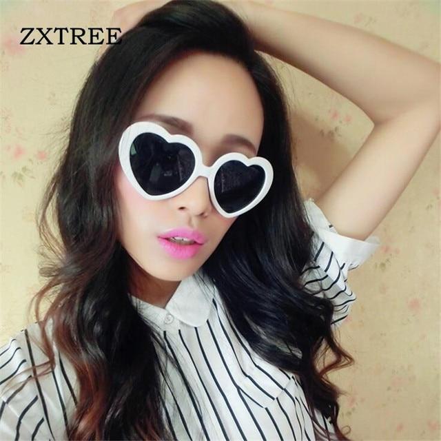 Zxtree Fashion Love Heart Shaped Sunglasses Women Brand Designer