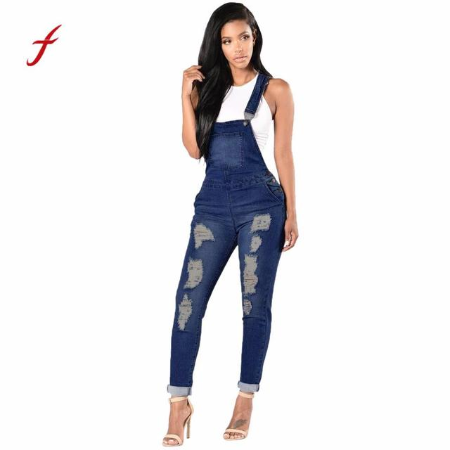 Feitong Womens Jeans Jumpsuit Female Denim Overalls Spring Autumn
