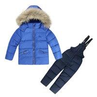Winter Baby Boys Girls Ski Suit White Duck Down Snowsuit Kids Sets Children Clothing Set Long