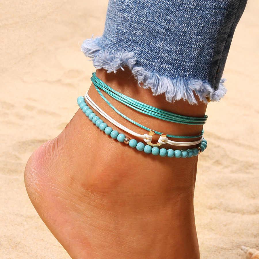 3 ピース/セットボヘミアビーズ層アンクレット女性の足の脚チェーン足首自由奔放に生きる Halhal アンクレット夏のビーチジュエリー