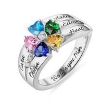 AILIN Custom Birthstone Ring In White Gold For Women 5 Color Heart Birthstones Her Size 5-12 Mothers Day
