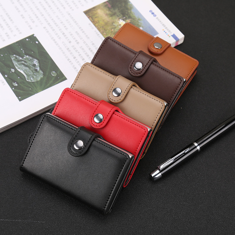 Business Card Holder Drawing Type Antitheft Rfid Aluminium Credit With Blockinng Mini Wallet