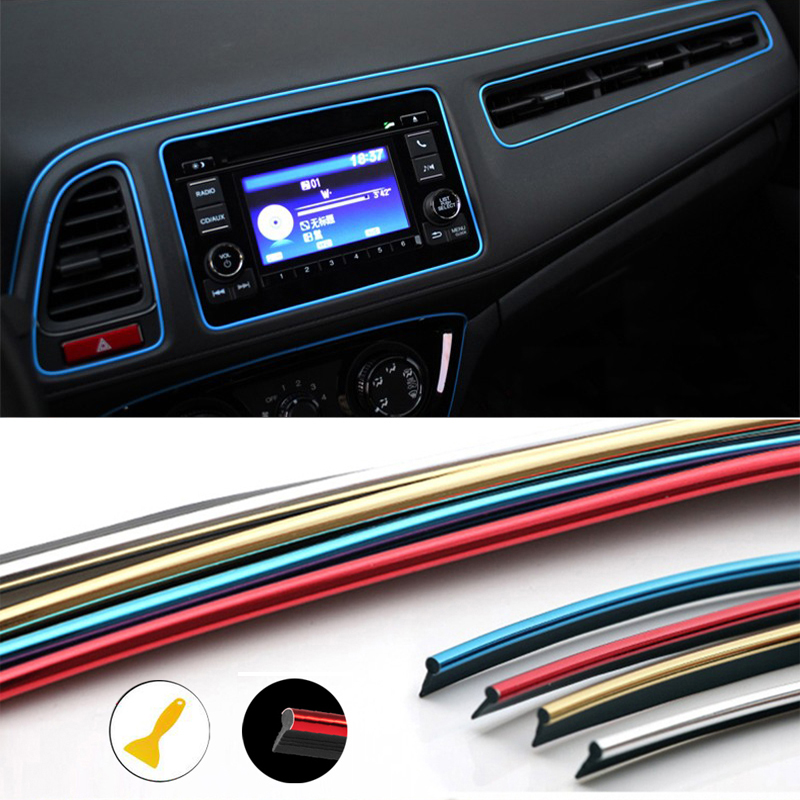 Car Mouldings Trim 3D Line Strips Dashboard Door Edge For Toyota Corolla RAV4 Camry Prado Avensis Yaris Hilux Prius Land Cruiser