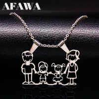 Edelstahl Halskette Mama Familie Halsketten Schmuck Silber Farbe Liebe Junge Mädchen Anhänger Choker Halskette Frauen Geschenk N2201