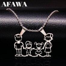 Ожерелье из нержавеющей стали, ожерелье для мамы и семьи, ювелирное изделие серебряного цвета, ожерелье-чокер для мальчика и девочки, подарок для женщин N2201