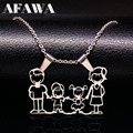 Stainless Steel Necklace Mama Family Necklaces Silver Color Love Boy Girl Pendant Jewelry Women Christmas Gift N333S01