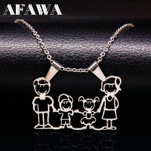 Stainless Steel Necklace Mama Family Necklaces Jewelry Silver Color Love Boy Girl Pendant Choker Necklace Women Gift N2201(China)