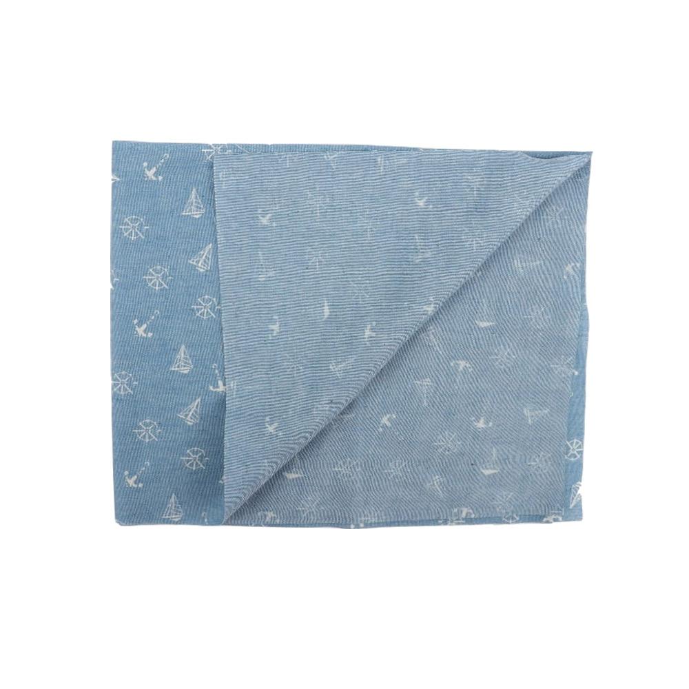 LT BLUE ANCHORS PRINTED Cotton Denim Fabric Material