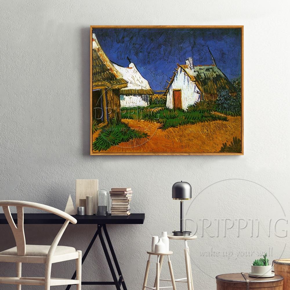 Begaafde Kunstenaar Reproduceren Van Gogh 1888's Art Olieverf handgeschilderde Drie Witte Cottages in Saintes Maries Olieverf-in Schilderij & Schoonschrift van Huis & Tuin op  Groep 3