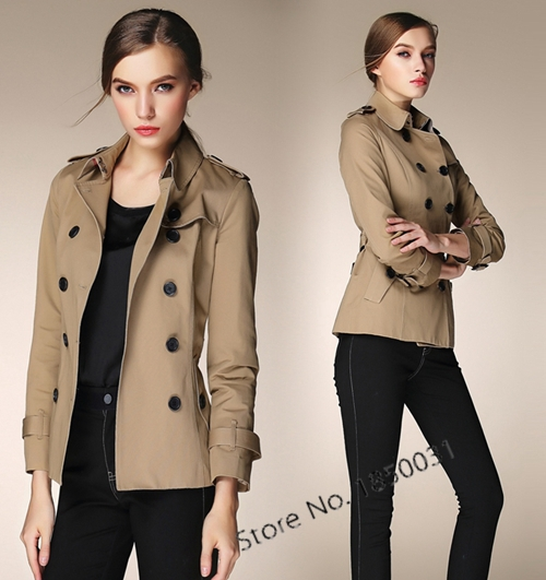 European Style Trench Coat for women casual OL work wear short ...
