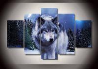 Art Abstract Indoor Decor 20x35cmx2,20x45cmx2,20x55cm Wolf Canvas Print decor in 5 pieces