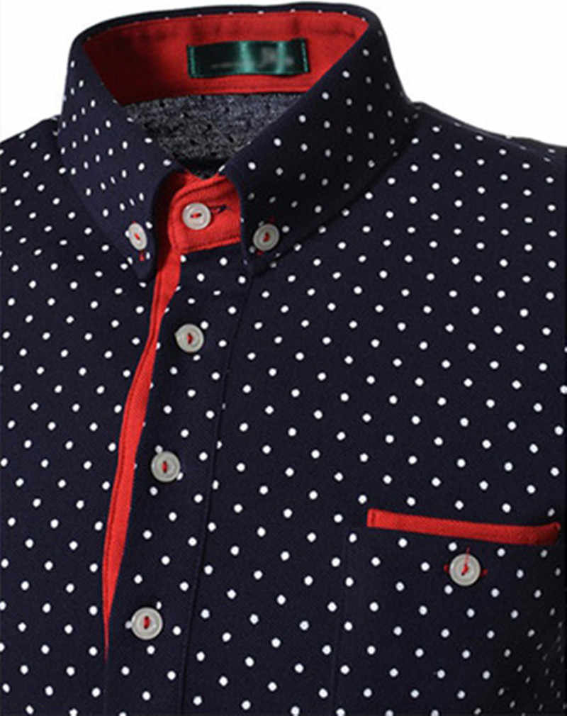 Распродажа, как лидер продаж, Классические повседневные мужские рубашки с длинными рукавами в черно-белую точку, большие размеры