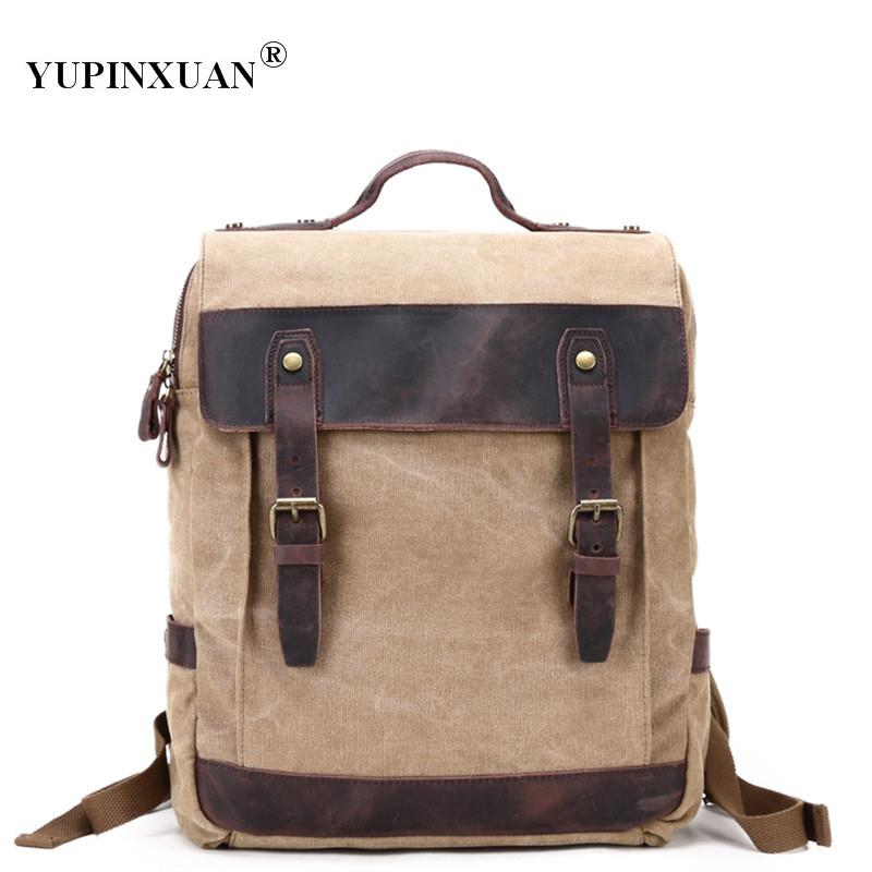 YUPINXUAN Europe Mens Waterproof Canvas Backpacks 5 Color Options Canvas+ Cow Leather Back Packs Retro Daypacks Mochilas Chile cafe tacvba chile