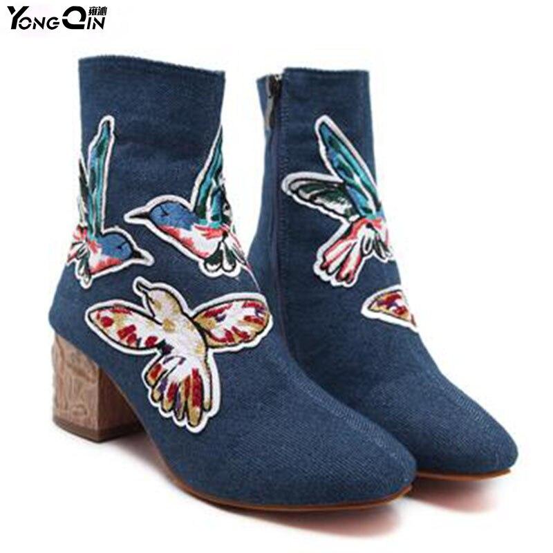 New Fashion Cowboy Women Boots  Women's Winter Shoes High-heeled Shoes Non-slip Crude Martin Boots спортивная футболка new balance 83 amrt5140 199