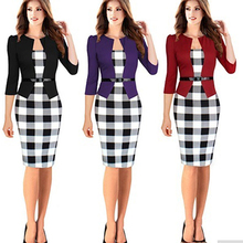 Women Elegant Tartan Long Sleeve Patchwork Casual Bodycon Pencil Sheath Dress