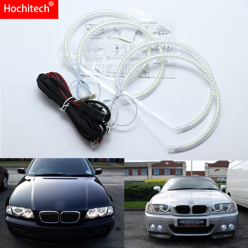 for BMW E46 coupe 1999-2003 without lens Ultra bright SMD white LED angel eyes 2600LM 12V halo ring kit daytime running light цена