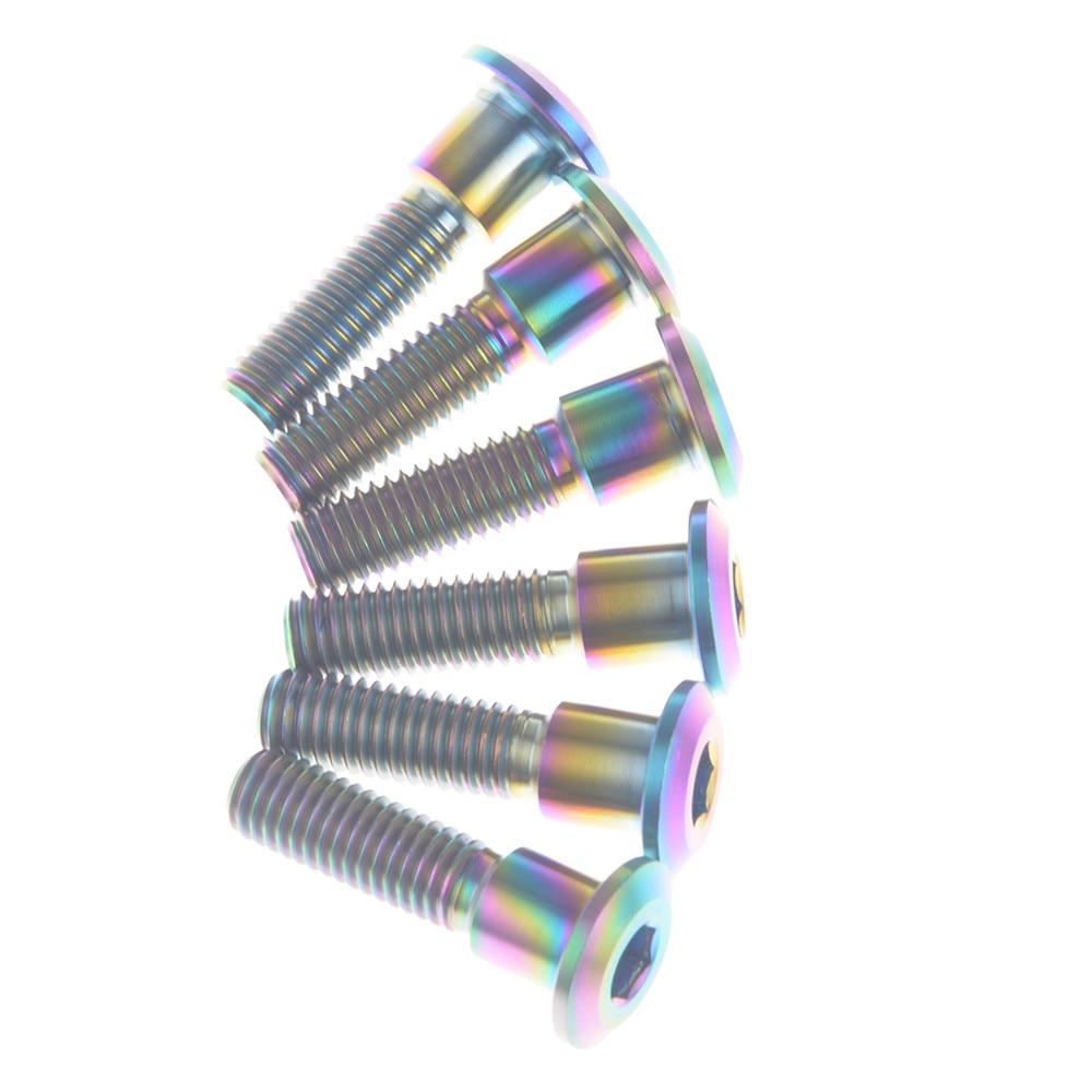 6 шт. титановые болты для мотоцикла Ti, винты M8x33mm M8* 33 мм для мотоцикла Suzuki, велосипеда, тормозного диска, фиксация шестигранного цвета радуги