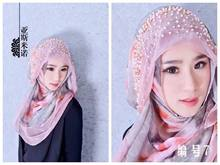 Islamic Head Cover Beaded Adult Chiffon Hijab Muslim Women Scarf Head Turbans for Women Chemo Undian Hat Muslim(China)