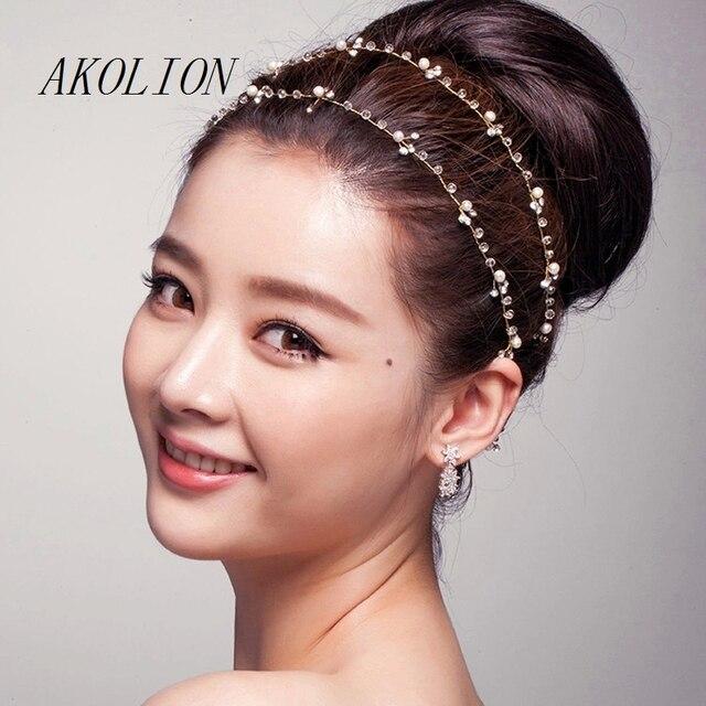 15c82125451a7f AKOLION Cheveux Bijoux De Mariée Accessoires De Mariage Pas Cher Main  Cristal Tête Bijoux Bandeau Pas