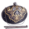 Punk Women Handbags Black  Color Luxurious Lady Chain Shoulder Evening Bags Small Egg Shaped Day Clutches Bag