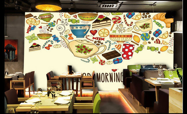 Hand Painted Murals Cake Candy Restaurant Cafe Bar Room