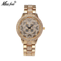 MissFox Flower Rose Gold Watch Women Famous Brand Heart Diamond Clock Charms Miss Fox Lady Girls Watches Quartz Relogio Feminino