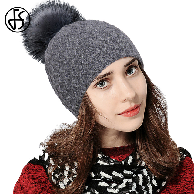 6ab4efaf852 FS Gray Black Winter Hats For Women Elegant Fashion Solid Warm W Knitted  Beanies Cap Brand Thick Female Cap With Fur Pompom