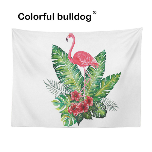 Pink Flamingo Large Tapestry Green Palm Leaves Hibiscus Flower Wall