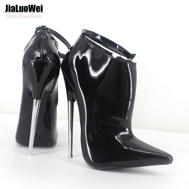 ФОТО Fashion Sexy Pumps High-heeled Shoes 18cm Metal Heels Pointed Toe Ankle Strap Spring Autumn Shoes Women Party Dance Prom Shoes