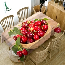 3D Tablecloth Red Cherry Yellow Mango Fruit Pattern Dustproof Dining table Table cloth Rectangular Thicken Polyester Cover