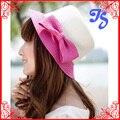 Paja moda de verano Bowknot sombreros de Sun de señora Girls plegable Visor Cap ala ancha Floppy sombrero de la playa
