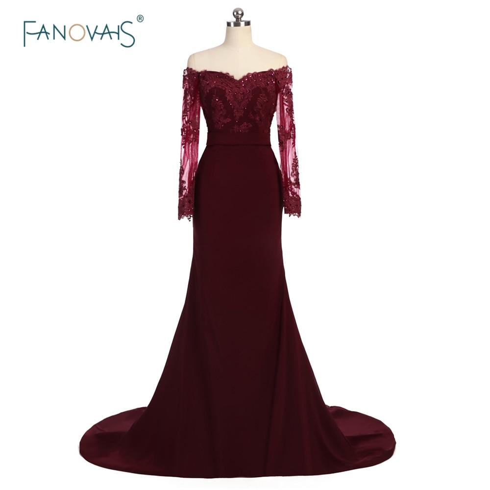 Hot Selling burgundské družičky šaty s dlouhými rukávy z ramene - Šaty pro svatební hostiny - Fotografie 1