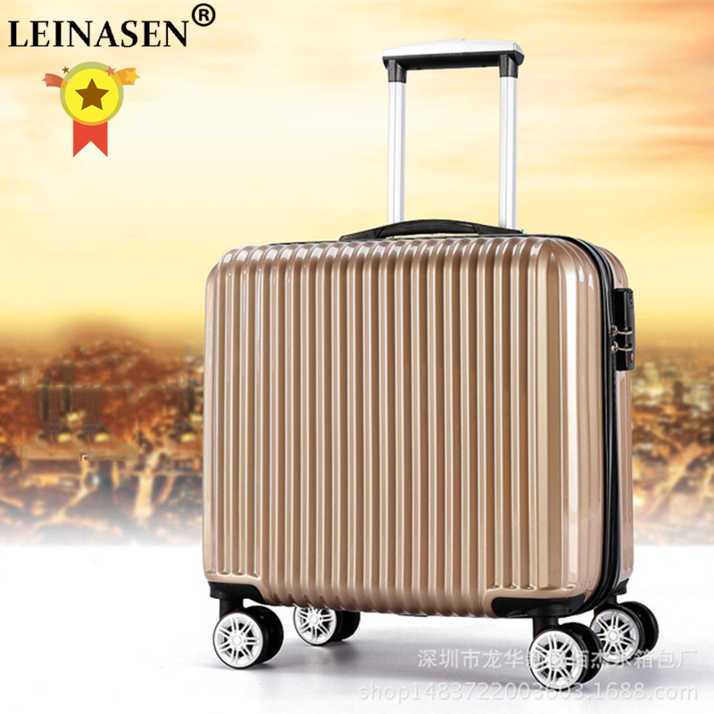 Top Fashion Business Travel Rolling Luggage Aluminum Suitcase 18 Inch Computer Trolley Case ABS+PC Valise Spinner Boarding Boxes