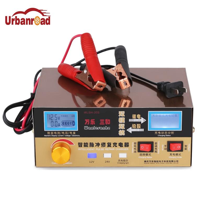 Urbanroad 12V24V chargeur automatique Intelligent affichage de LED réparation d'impulsion chargeur de Batterie de voiture 12 V Batterie au Lithium Charge d'alimentation