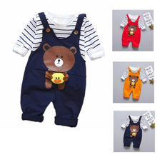 Infants Clothing Spring and Autumn T-shirt +bib pants Set Print Striped Long-sleeved 2 piece of 0-4 Years Old Cartoon  bear