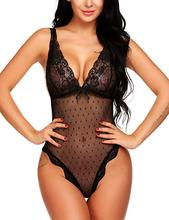 Sexy Lingerie Backless Lace Babydoll  Underwear Deep V lace jumpsuit Black Exotic Apparel Women