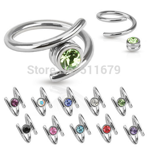 20pcs/lot Surgical Steel Twist Nose Ring with Crystal Navel Ring Ear Tragus Cartilage Eyebrow Body Piercing Jewelry