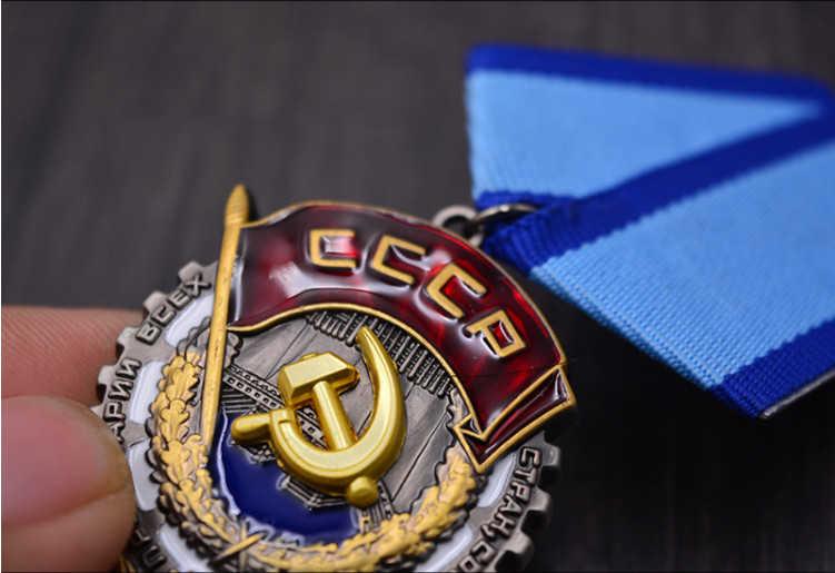 Top qualität CCCP Medaille Weltkrieg II Lenin Rot Flagge Venus Roten Stern Hero UDSSR Sowjetunion Arbeit Herrlichkeit Medaille der Ehre Östlichen Linie