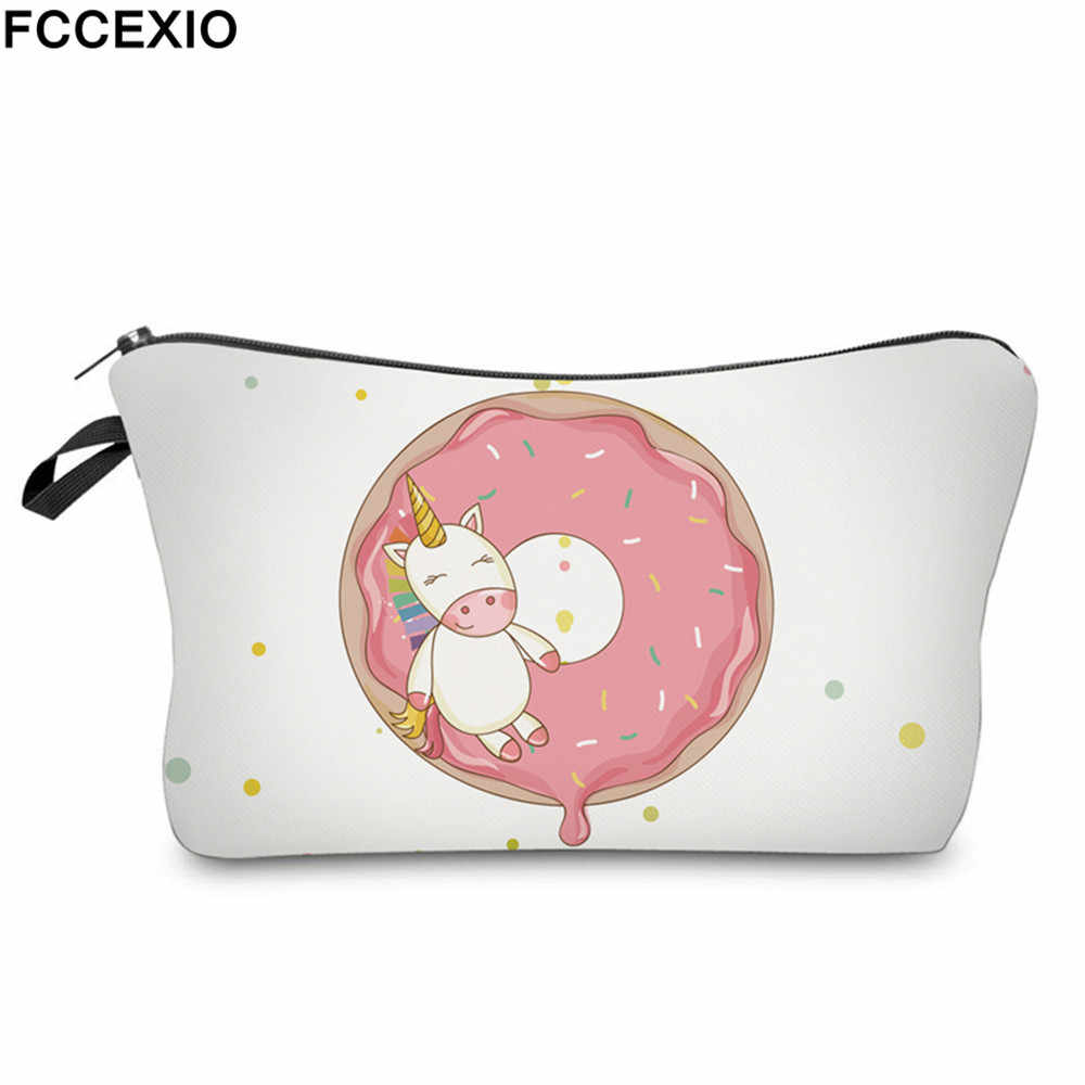 c1ef82d5d43b FCCEXIO New 3D Print Makeup Bags With Unicorn Pattern Cute Cosmetics Pouchs  For Travel Ladies Pouch