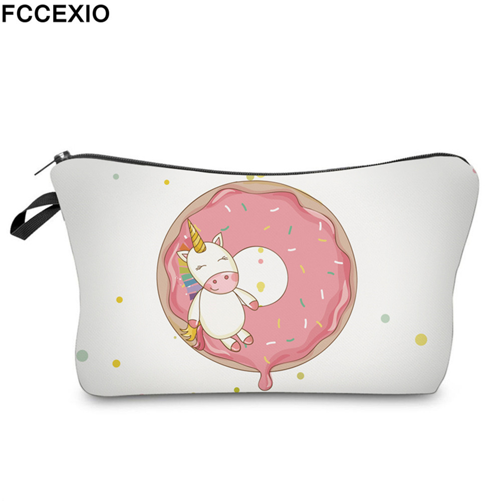 FCCEXIO New 3D Print Makeup Bags With Unicorn Pattern Cute Cosmetics Pouchs For Travel Ladies Pouch Women Cosmetic Bag 11 3d florals pattern u pouch design voile briefs