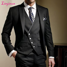 Linyixun Black Formal Men Suit Slim Fit Mens Suits Bespoke Groom Tuxedo Blazer for Wedding Prom Jacket Pants with Vest 3Pcs(China)