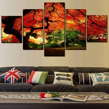 5 Panel Nature Park Plant Tree Leaf Pictures Wall Art Framework Poster Home Decor Living Room Canvas Print Fall Garden Painting