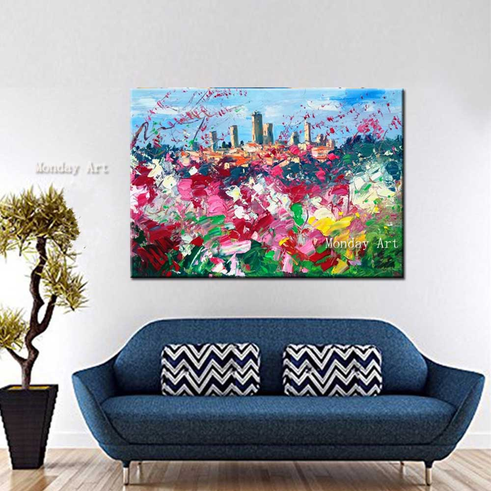 Hand-Painted-Thick-Oil-Abstract-Cityscape-Canvas-Oil-Painting-Abstrac-Flower-Wall-Picture-Living-Room-Home (3)
