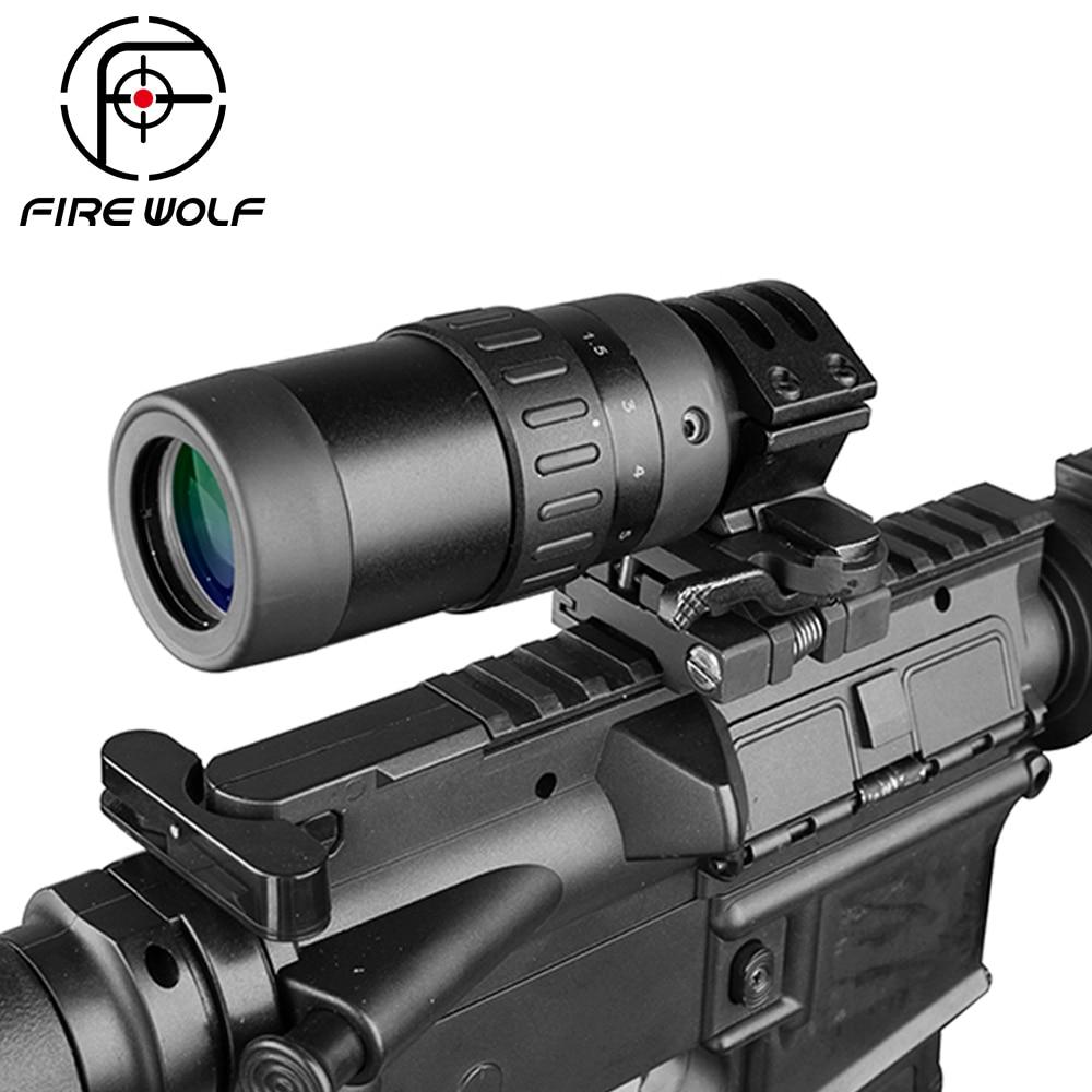 Feuer Wolf 1,5-5 Zoom Lupe Für Jagd Scope Red Dot Anblick 3x 4x 5x W/mount Freies versand Erste Brenn Flugzeug Scopes Red Dot