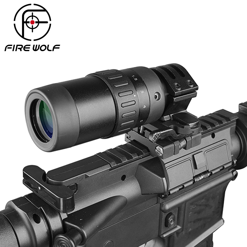 Fire Wolf 1.5-5 Zoom Magnifier For Hunting Scope Red Dot Sight 3x 4x 5x W/mount Free Shipping First Focal Plane Scopes Red Dot