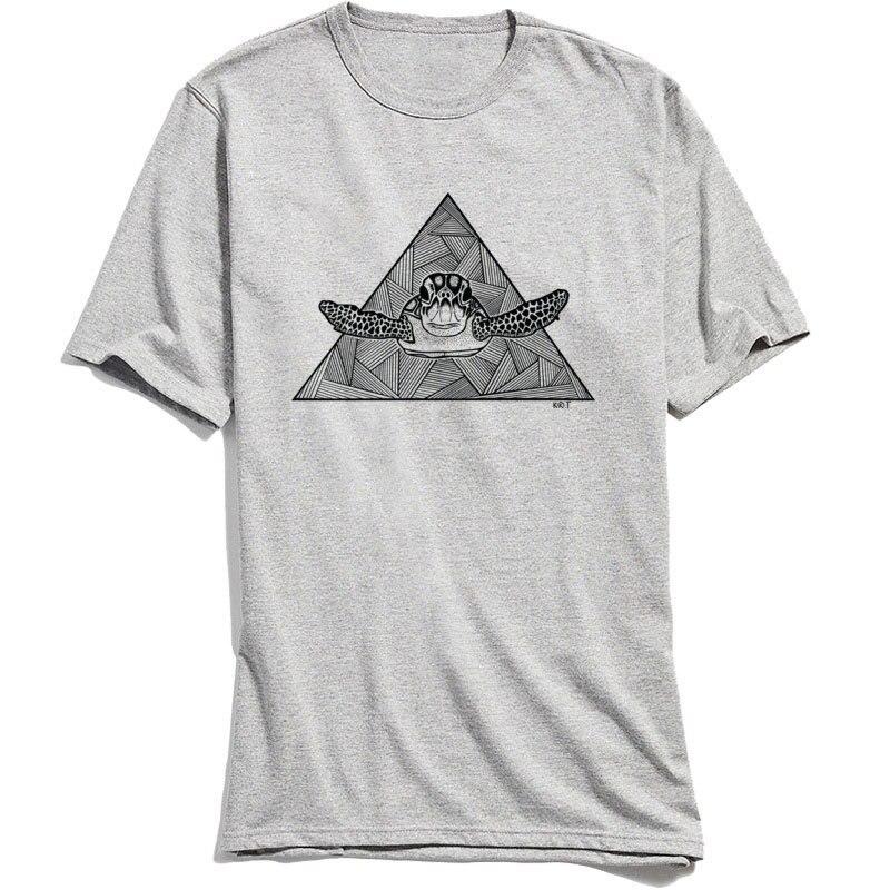 Geometric Turtle Tshirt Men's Tops Tees Custom T-shirts Fashion Short Sleeve T Shirt Thanksgiving Day Cotton Fabric Clothes Grey